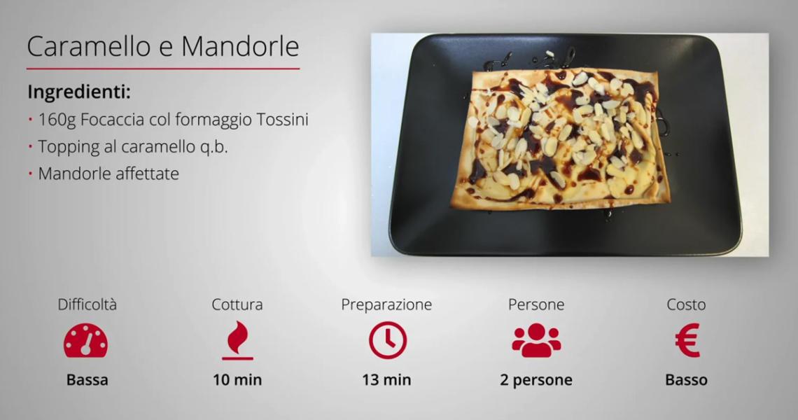 Video ricette: focaccia col formaggio caramello e mandorle. Tossini