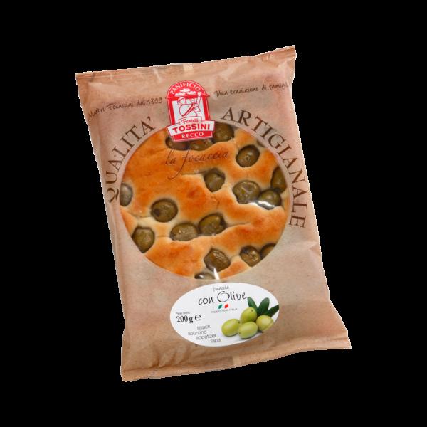 Focaccia con olive - Panificio Pasticceria Fratelli Tossini - Recco, Genova - Maestri focacciai dal 1899 - La Focaccia è Tossini, Tossini è la Focaccia
