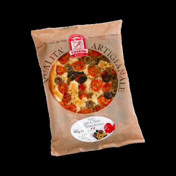 Focaccia olive e pomodorini - Panificio Pasticceria Fratelli Tossini - Recco, Genova - Maestri focacciai dal 1899 - La Focaccia è Tossini, Tossini è la Focaccia