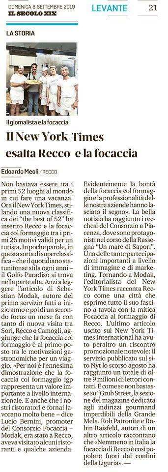 08/09/2019 Il New York Times esalta recco e la focaccia - Rassegna Stampa - Tossini Recco