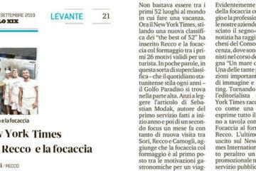 08.09.2019 il nyt esalta recco e la focaccia - Rassegna Stampa - Tossini Recco