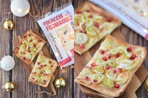 Tossini, Focaccia col formaggio porri e melagrana